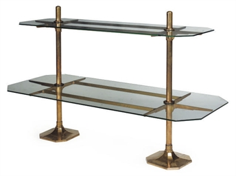 A GLASS AND BRASS TWO TIER DIS