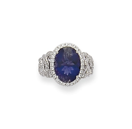 BAGUE IOLITE ET DIAMANTS