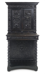 AN EBONISED CABINET-ON-STAND
