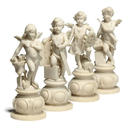 A SET OF FOUR FRENCH IVORY ALL