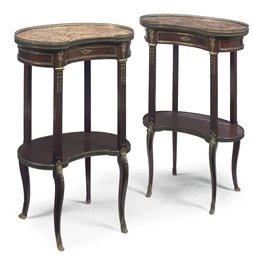 A PAIR OF FRENCH MAHOGANY KIDN