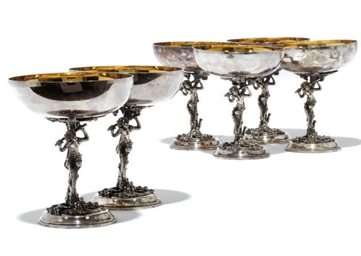 A SET OF SIX ITALIAN METALWARE