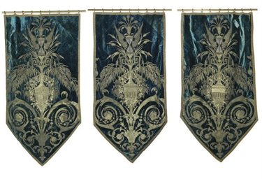 A TRIO OF SILK VELVET BANNERS