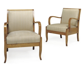 A PAIR OF SATINWOOD ARMCHAIRS