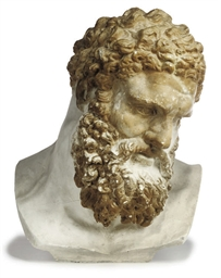 A PLASTER BUST OF HERCULES