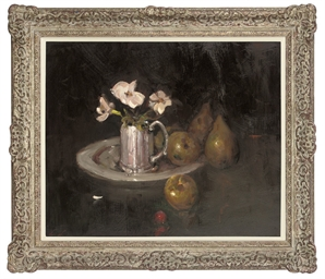 Flowers in a silver pitcher, w