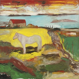 A grey horse in a landscape