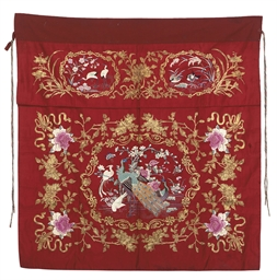 TWO RED SATIN ALTAR FRONTALS