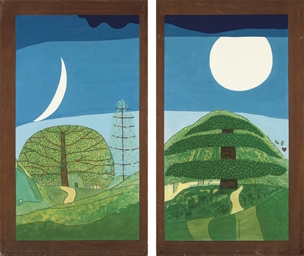 Above the trees, diptych