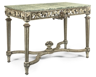 A FRENCH PARCEL-GILT PAINTED C