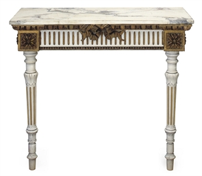 A FRENCH GILTWOOD AND WHITE PA