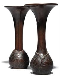 Two Similar Japanese bronze va