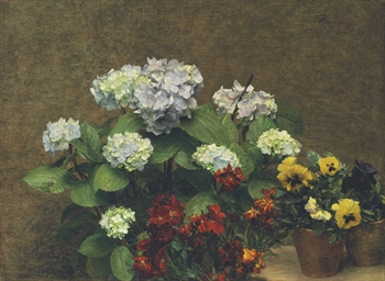 Fleurs (Hortensias, giroflées,