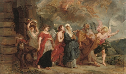 Lot and his daughters fleeing