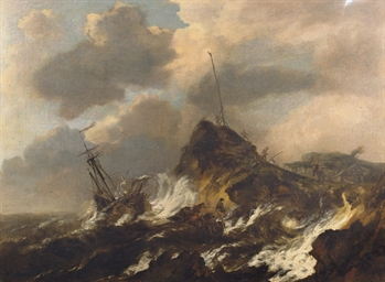 A ship in a storm off a rocky