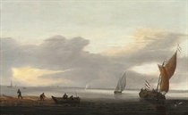 A coastal landscape with a Dutch fishing boat and fishermen drawing in nets from a rowing boat