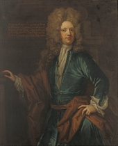 Portrait of Francis, 2nd Lord Guilford (1673-1729), three-quarter-length, in a blue velvet coat with jewelled fastenings, and an ochre wrap, before a column