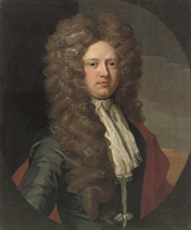 Portrait of William, 6th Lord North and 2nd Lord Grey (1673-1731), half-length, in a grey coat and red wrap, a landscape beyond, in a feigned oval