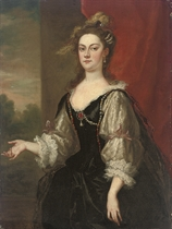 Portrait of Katherine (d.1766), Countess of Rockingham, later Countess Guilford, three-quarter-length, in a black bejewelled dress with lace sleeves and an ostrich plumed headdress, by a red curtain, a landscape beyond