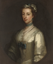 Portrait of Elizabeth, Viscountess Lewisham (d. 1745), Countess of Guilford, half-length, in a white dress with blue trimmings and a lace cap, in a feigned oval