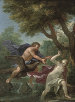 A wooded river landscape with Jupiter chasing a river nymph
