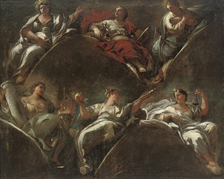 Six allegorical figures repres
