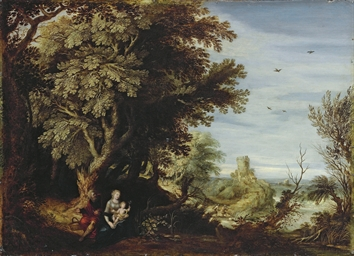 A wooded landscape with the Re