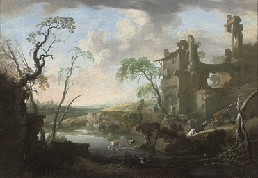 An Italianate landscape with d