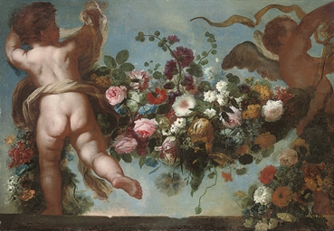 Putti raising a festoon of flo