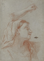 A young woman wearing a veil, bust-length, in profile to the right, with a subsidiary study of her left arm