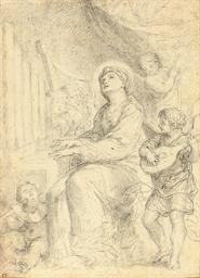 Saint Cecilia playing the orga