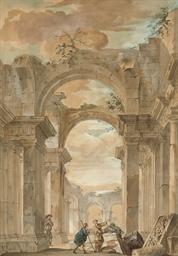 Figures admiring Roman ruins