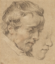 Head of a bearded man in profile to the right, with a subsidiary study of another head
