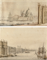 The Dogana and Santa Maria della Salute, Venice; and An imaginary view of the Bacino, with a Palladian version of the Doge's Palace