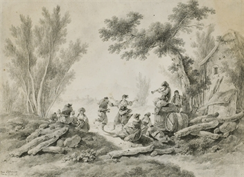 Peasants resting and dancing t