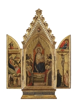 A portable triptych: the central panel: The Madonna and Child enthroned with twelve Saints, God the Father above; the left wing: The Adoration of the Magi, with the Angel of the Annunciation above: the right wing: The Crucifixion, with the Virgin Annunciate above; the outer faces decorated with trompe l'oeil intarsia doors (see fig. 1)