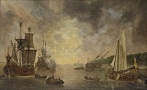 A harbour with a flute, a frigate firing a salute, a flute being careened and a States Yacht, with other shipping at sunset