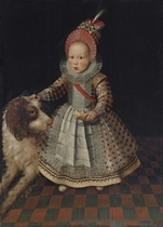 Portrait of a child, full-length, in an embroidered dress and a feathered hat, with a dog
