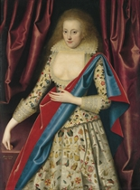 Portrait of lady, probably Lady Thornhagh, three-quarter-length, in an embroidered bodice and an embroidered dress, with a pale yellow lace collar, and a blue and red mantle over her left shoulder, beside a table, flanked by draped curtains
