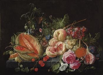 A cut melon, cherries, goosebe