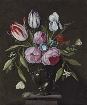 Roses, tulips, an iris and other flowers, in a glass vase on a stone plinth, with butterflies and other insects