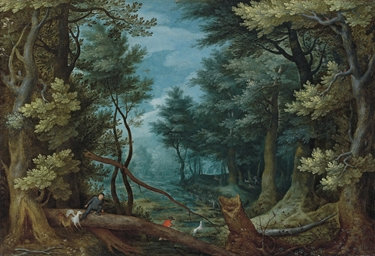 A forest landscape with hunter