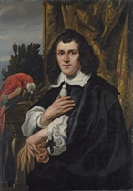Portrait of a young man, half-length, in black doublet and cloak with white collar and sleeves, holding a pair of gloves, a parrot on a parapet beside him