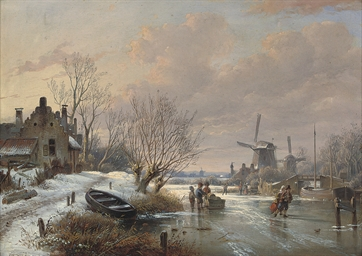 Ice skaters at the windmill