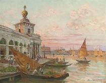Market day at The Custom's House, Venice