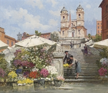 Selling flowers on the Spanish Steps, Rome