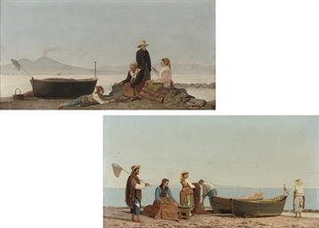 Fisherfolk on the shore before