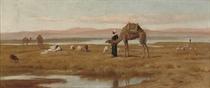 Arab shepherds grazing their flocks