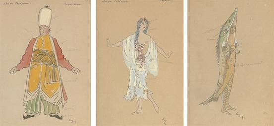 Three costume designs for Kone