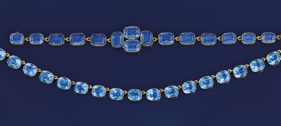 An antique blue paste necklace